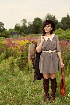 Pointed collar dress, brown boots keiko lynn