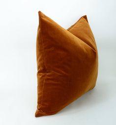 Copper velvet pillow // copper velvet cushion cover // fall | Etsy