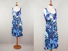 Vintage dress / 90s / Emilio Pucci blue white print / Silk / Blue tones dress / Made in italy / Size 12 L