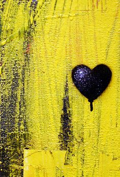 Black Heart - This is a small part of a much larger abstract painting at the Chrysler Art Museum in Norfolk, VA I Love Heart, With All My Heart, Heart Pics, Heart Pictures, Happy Heart, Mellow Yellow, Black N Yellow, Color Yellow, Yellow Art