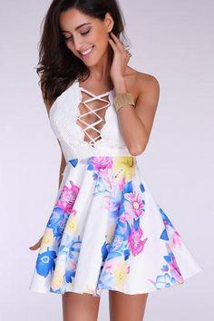 White Sleeveless Floral Print Bottom Cross Back Lace Detail Dress