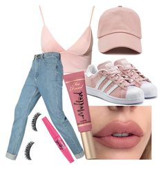 """""""peachy places"""" by cashtonlv ❤ liked on Polyvore featuring Dark Pink, Forever 21, adidas Originals and Too Faced Cosmetics"""