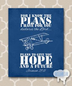 Printable Nursery Wall Art, Scripture Quote Bible Verse, I know the plans Jeremiah 29:11, vintage airplane biplane antique transportation navy blue INSTANT DOWNLOAD
