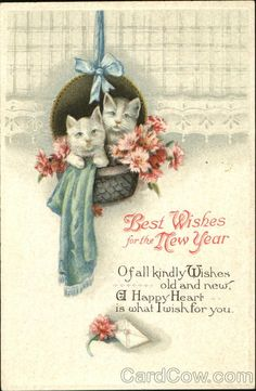 best wisheshappy hearts 3 happy new year cards vintage happy new