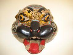 Elaborately painted Jaguar mask from San Miguel de Allende, MX