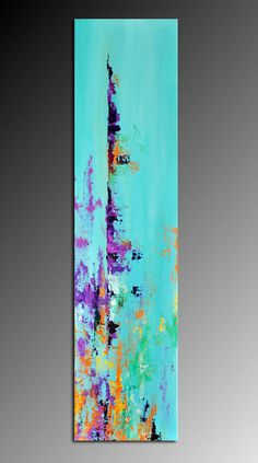 "Abstract 156 - Original Modern Textured Abstract Painting 8""x31"" Landscape Painting, Ready to Hang. $180.00, via Etsy."