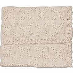 Raw Organic Cotton Hand-Crocheted Baby Blanket Cream by mioukids