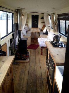 1976 cruiser stern narrowboat floating mini-home. Rv Living, Tiny Living, Home Interior Design, Interior And Exterior, Barge Interior, Van Interior, Interior Paint, Kitchen Interior, Interior Ideas