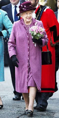 Her Majesty chose a violet coat with floral print piping during her Diamond Jubilee tour of the United Kingdom in 2012.