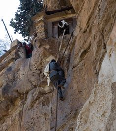 Debre Damo, Etiopia  Debre Damo is a monastery, located on a plateau which can only be reached via this leather rope. It's a 15 m 90 degree incline to climb up