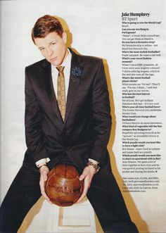 Jake Humphrey wearing Marwood Floor Tiles tie in The Observer