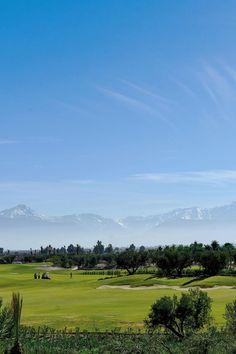 Beautiful backdrop of the distant mountains in Morocco at Royal Palm Golf Club