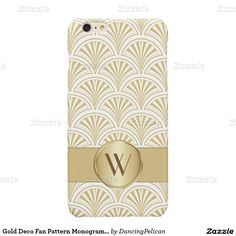 Gold Deco Fan Pattern Monogrammed Glossy iPhone 6 Plus Case