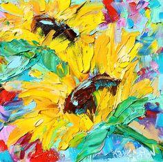 Sunflowers painting original oil 6x6 palette knife #sunflowers