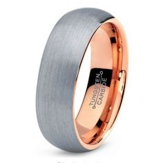 Only $99 - 7MM Tungsten Men's Ring - Modern Brushed Slate Finish With Rose Gold Plated Interior
