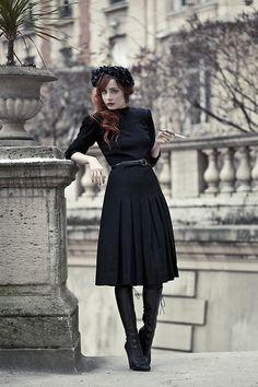 All Black. Killer style. Lace boots, Pleated Knee-Length skirt, floral chapeau and je ne sais quoi! Tags: Vintage, Alaïa, Diy