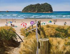 Walkway to Ocean Beach with Motuotau Island by Jane Galloway for Sale - New Zealand Art Prints Arts And Crafts For Teens, Arts And Crafts House, Kids Crafts, Preschooler Crafts, Craft Projects, Bone Crafts, New Zealand Landscape, New Zealand Art, Nz Art