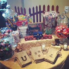 cowboy baby shower candy table!