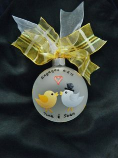 Just Engaged Love Bird Ornament - Custom Handpainted Personalized Glass Ball Ornament