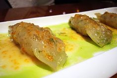 Chinese Potstickers filled w. Shrimp, Scallops & Tobiko Caviar Sauce ...