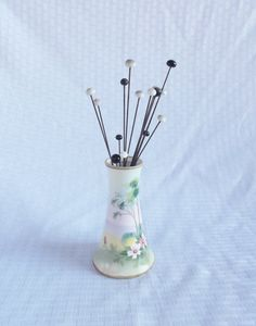 Edwardian Hand Painted Nippon Hat Pin Holder Full of Antique Hat Pins