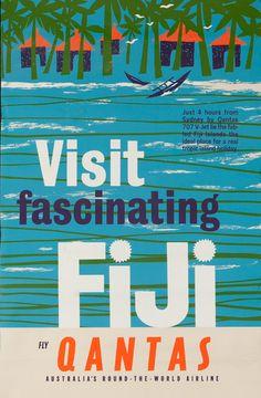 DP Vintage Posters - Visit Fascinating Fiji Original Qantas Airlines Travel Poster