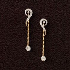 yellow gold and diamond - Delicate long dangle earrings. A pretty pressure set slower attached to a pretty chain, these earrings are simple yet so gorgeous - they could easily make for a red-carpet pair. Jewelry Design Earrings, Gold Earrings Designs, Ear Jewelry, Unique Earrings, Designer Earrings, Diamond Jewelry, Gold Jewelry, Gold Bracelets, Jewelry Logo