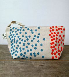 Dots Linen Cosmetic Bag | Frankie and Coco PDX