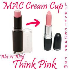 MAC Cream Cup dupe Wet N Wild Mega Matte Lipstick in Think Pink, plus 3 more dupes! #dupe #lipstickdupe #macdupe #wetnwild www.lipstickdupe.com Nyx Cosmetics, Dupes Nyx, Mac Lipstick Dupes, Matte Lipsticks, Skincare Dupes, Mac Velvet Teddy, Wet N Wild, Beauty Dupes, Beauty Makeup