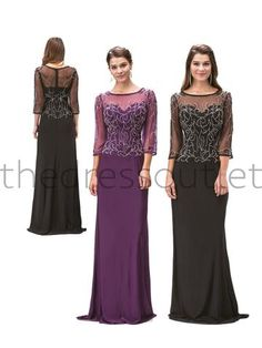 Long Mother of the Bride Plus Size Formal Evening Dress - The Dress Outlet - 1