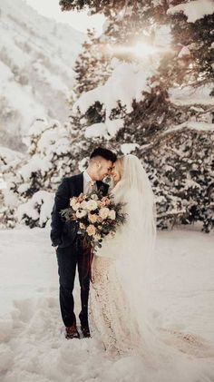 Okay, were convinced s(now). Winter weddings are the best things ever. Youre going to fall hard over these perfect, snow-covered captures. Winter Wedding Snow, Snowy Wedding, Winter Bride, Winter Wonderland Wedding, Forest Wedding, Elope Wedding, Wedding Pictures, Wedding Bride, Dream Wedding