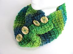 Blue Green Button Cowl FREE US Shipping by AllAboutTheButtons