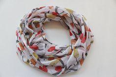 Chiffon infinity scarf - circle scarf - light weight chiffon infinity scarf - tulip scarf - white with coral tulips - loop scarf - summer