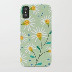 White Spring Flowers on Green iPhone Case by peladesign White Springs, Spring Flowers, Iphone Cases, Green, Design, Iphone Case, Spring Colors, I Phone Cases
