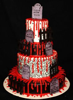Wedding cake for a Zombie Wedding by its-a-piece-of-cake, via Flickr