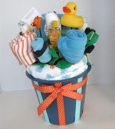 Large Baby Boy Bath Gift Set: 20 Piece Baby Bouquet. $60.00, via Etsy.