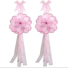 Flower Curtain Tiebacks Pink White Triple Layered Nylon Flowers Pair Set Decorations Window Treatment Holdback Sheer Drapes Holder Drapery Tie Back Baby Nursery Bedroom Girl Room Child Decor Home DIY ** Check this awesome product by going to the link at the image.-It is an affiliate link to Amazon. #WindowTreatmentHardware
