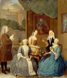 Balthasar Denner, Teselskab hos hertuginden, 1732.  Oil on canvas, 83 x 70 cm.  Credit line: The Museum of National History.  Photo: Lennart Larsen.