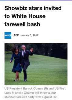 #44th #President #POTUS Of The United States  Of America #CommanderInChief #BarackObama and his wife #FirstLady #FLOTUS Of The United States  Of America #MichelleObama are throwing a going-away party #Friday #January6th #2017 with a guest list that includes Beyonce, Jay Z and Bruce Springsteen, the showbiz weekly Variety reported.Friends, donors and other entertainment industry people who have supported #Obama are also invited to the apparently #privateaffair