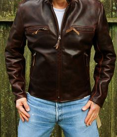If you could have the perfect retro/vintage style motorbike jacket what would it be? What would it look like and what features would it have? Men's Leather Jacket, Biker Leather, Leather Jackets, Leather Men, Best Smart Casual Outfits, Trendy Outfits, Motorcycle Suit, Men's Wardrobe, Cool Jackets