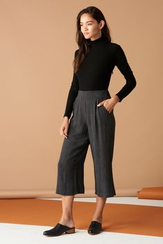 Valentina Pant in Black & White Stripe · Whimsy & Row · Sustainable Clothing & Lifestyle Brand Slow Fashion, Ethical Fashion, Fashion Basics, American Made Clothing, Wide Leg Trousers, Trouser Pants, Sustainable Clothing, Striped Linen, Cute Skirts
