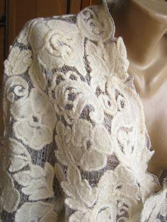 """Купить Жакет """" Госпожа"""". - белый, цветочный, Леди Крафт, шерстяное ришелье, шерстяное кружево"""