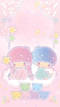 Little twin stars. little twin stars iphone wallpaper kawaii Sanrio Wallpaper, Iphone Wallpaper Kawaii, My Melody Wallpaper, Cute Wallpaper For Phone, Star Wallpaper, Hello Kitty Wallpaper, Trendy Wallpaper, Cute Backgrounds, Sanrio Characters