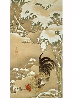 雪中雄鶏図,伊藤若冲,18th century, Japan