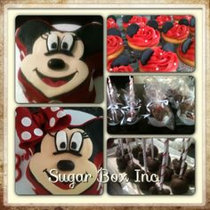 Minnie Mouse apples, cake pops, cupcakes