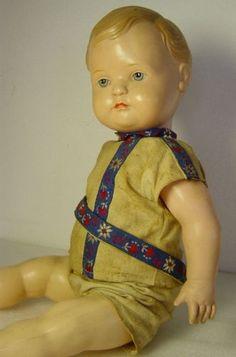 antike-Puppe-Junge-Knabe-stehend-Zelluloid-Cellba-42-cm