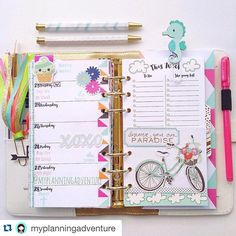"""I adore these summer fun and bright pages from Meredy! #Repost @myplanningadventure with @repostapp. ・・・ This week I'm striving to Discover my own Paradise. My little one and I definitely found it today when we got back into our pjs after swim lessons to have a """"PJ Craft Day"""" . #planner #plannergirl #plannerlove #planneraddict #plannerclips #plannertassel #washi #washilove #washiaddict #targetdollarspot #filofax #filolove #wpplannerlove #colorcrush #kikkik #plannernerd #planneraddict"""