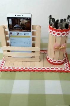 Diy Crafts For Home Decor, Diy Crafts Hacks, Diy Crafts For Gifts, Diy Arts And Crafts, Fun Crafts, Paper Crafts, Diy Popsicle Stick Crafts, Craft Stick Projects, Popsicle Stick Houses
