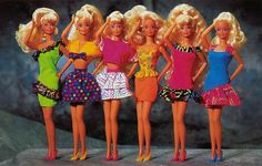 I had 2nd outfit from right and my friend had green and pink neon dresses! Barbie Journal 1992 (Finnish) by vaniljapulla, via Flickr