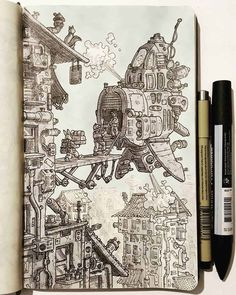 Daniele Turturici is a concept artist, illustrator, and cartoonist from Italy. For more view website Ink Illustrations, Illustration Art, Arte Sketchbook, Ink Pen Drawings, Futuristic Art, Pen Art, Environmental Art, Artist Art, Art Sketches